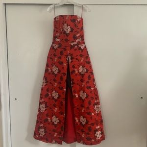Alice + Olivia Red floral gown jumpsuit size 4
